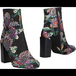 Jeffrey Campbell Embroidered Floral ankle boots